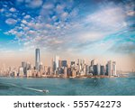 downtown manhattan at sunset as ... | Shutterstock . vector #555742273