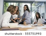 creative people doing a... | Shutterstock . vector #555751993