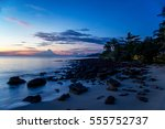 beautiful beach in blue hour at ... | Shutterstock . vector #555752737