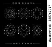 sacred geometry signs. set of... | Shutterstock .eps vector #555763717