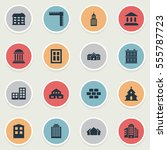 set of 16 simple construction... | Shutterstock .eps vector #555787723