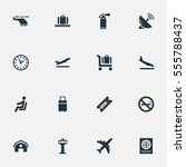 set of 16 simple travel icons.... | Shutterstock .eps vector #555788437