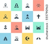 set of 16 simple faith icons.... | Shutterstock . vector #555790963