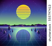 80s Retro Sci-Fi Background with Moon and Mountains. Vector futuristic synth retro wave illustration in 1980s posters style. Suitable for any print design in 80s style.   Shutterstock vector #555797413