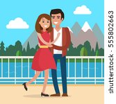 loving couple on date in park.... | Shutterstock .eps vector #555802663