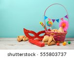 jewish holiday purim concept... | Shutterstock . vector #555803737