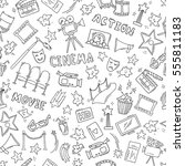cinema seamless pattern with... | Shutterstock .eps vector #555811183