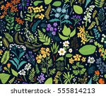 hand drawn floral pattern.... | Shutterstock .eps vector #555814213