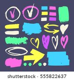 set of hand drawn paint object... | Shutterstock .eps vector #555822637
