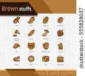 brown stuffs vector icons set... | Shutterstock .eps vector #555828037