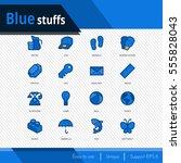 blue stuffs vector icons set on ... | Shutterstock .eps vector #555828043