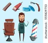 cute barber character. cartoon... | Shutterstock .eps vector #555829753