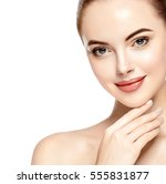 beautiful woman face closeup... | Shutterstock . vector #555831877