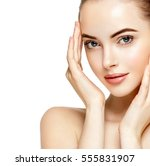 beautiful woman face closeup... | Shutterstock . vector #555831907