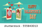 valentine day holiday couple... | Shutterstock .eps vector #555843013