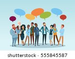 Business People Group Chat Communication Bubble, Businesspeople Discussing Communication Social Network Flat Vector Illustration | Shutterstock vector #555845587