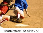 close call on home plate | Shutterstock . vector #555845977