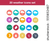 flat design style weather icons.   Shutterstock .eps vector #555852487