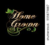 home grown. vintage... | Shutterstock .eps vector #555875887