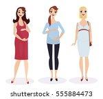 pregnant fashion set. pregnant... | Shutterstock .eps vector #555884473