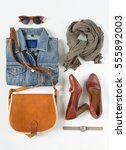 stylish female clothes set.... | Shutterstock . vector #555892003