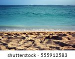 nice blue sea and beach | Shutterstock . vector #555912583