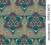 handdrawn ethnic ornamental... | Shutterstock .eps vector #555913873