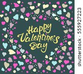 valentine postcard with... | Shutterstock .eps vector #555927223