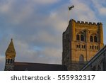 ancient cathedral of st albans... | Shutterstock . vector #555932317