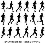 18 marathon runners silhouettes ... | Shutterstock .eps vector #555949447