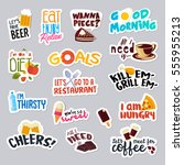 set of funny stickers for... | Shutterstock .eps vector #555955213