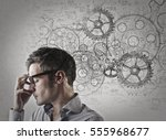 serious man with glasses... | Shutterstock . vector #555968677