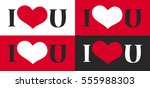 seamless pattern with heart and ... | Shutterstock .eps vector #555988303