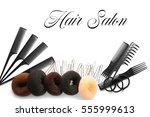 text hair salon and barber... | Shutterstock . vector #555999613