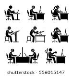 employee working with computer... | Shutterstock .eps vector #556015147