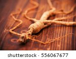 dry ginseng on a wood background | Shutterstock . vector #556067677
