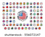 set of round glossy icons with... | Shutterstock . vector #556072147