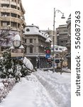 Small photo of BUCHAREST, ROMANIA - JANUARY 11, 2017: Downtown Bucharest, Victory Avenue close to the famous Capsa restaurant and hotel, after a heavy snowfall lasting a few days.