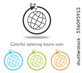 colorful set opening hours 24 7.... | Shutterstock .eps vector #556095913