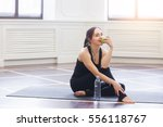 yoga woman drinking water and...   Shutterstock . vector #556118767