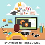 man accessing internet contents.... | Shutterstock .eps vector #556124287