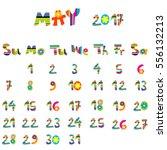 cute may 2017 calendar for kids   Shutterstock .eps vector #556132213