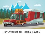 camper trailer on mountain road | Shutterstock .eps vector #556141357