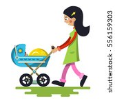 young mother with baby on pram. ... | Shutterstock .eps vector #556159303