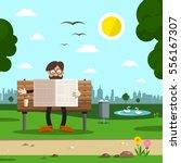 man on bench in city park.... | Shutterstock .eps vector #556167307