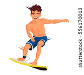 cool surfer. vector... | Shutterstock .eps vector #556170013