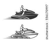 set of jet ski watercraft... | Shutterstock .eps vector #556170997