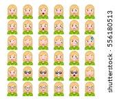 set of blonde women's realistic ... | Shutterstock .eps vector #556180513