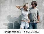 two hipster models man and... | Shutterstock . vector #556193263