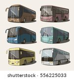 vector set of different bus or... | Shutterstock .eps vector #556225033